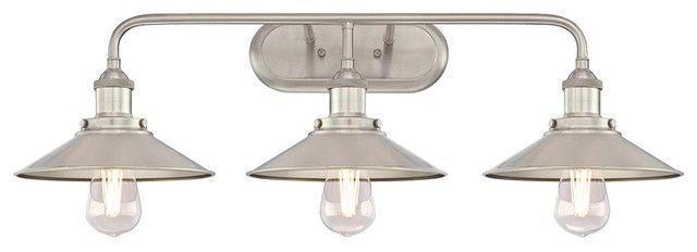 Photo of Indoor Wall Fixture, Brushed Nickel, 3 Light – Industrial – Bathroom Vanity Ligh…,Indoor Wa…