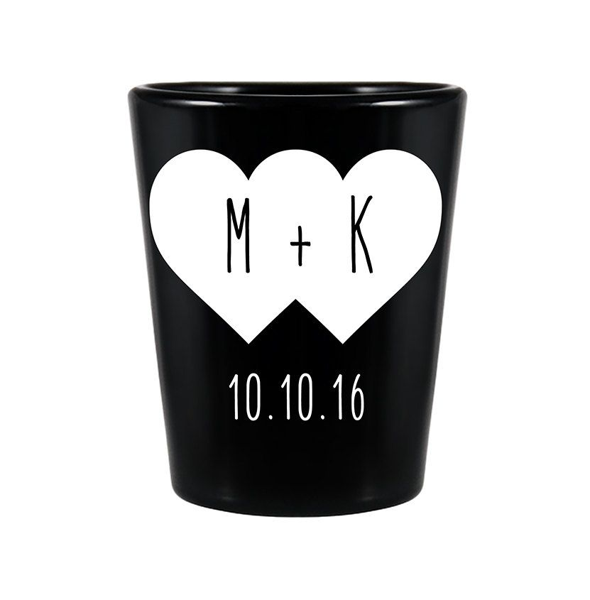 100x Custom Wedding Favors Romantic Wedding Black Shot Glasses 15