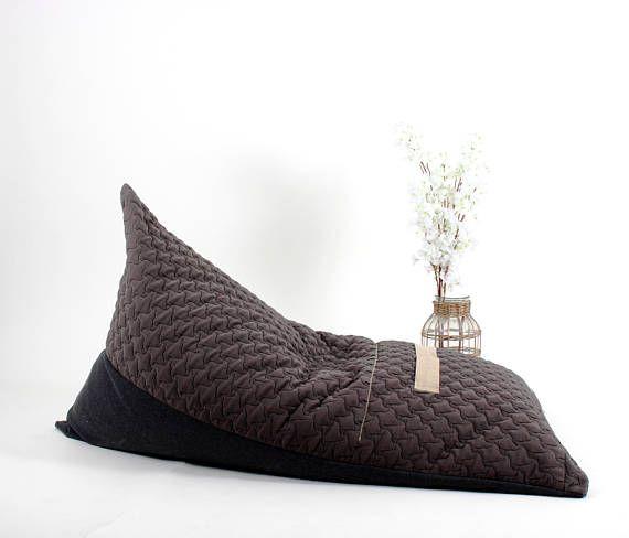 Remarkable Gray Triangular Beanbag Indoor Furniture Large Pouf Chair Dailytribune Chair Design For Home Dailytribuneorg