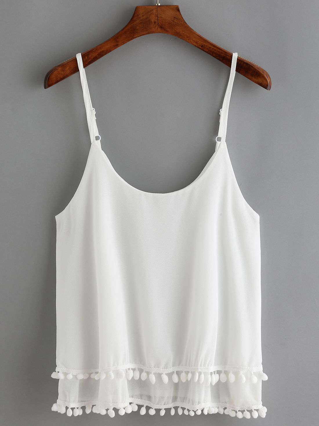 White Spaghetti Strap Tassel Cami Top -SheIn | :: >> Just Landed ...