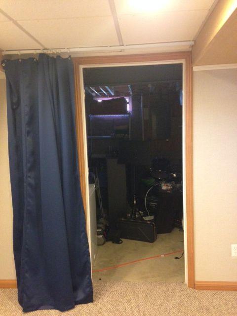 Curtain Tracks And Curtain Dividing A Basement Curtains In A
