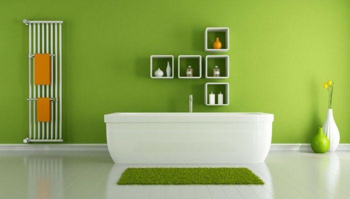 Wandanstrich badezimmer ~ Badezimmer gestalten wandfarbe grün homelike limes