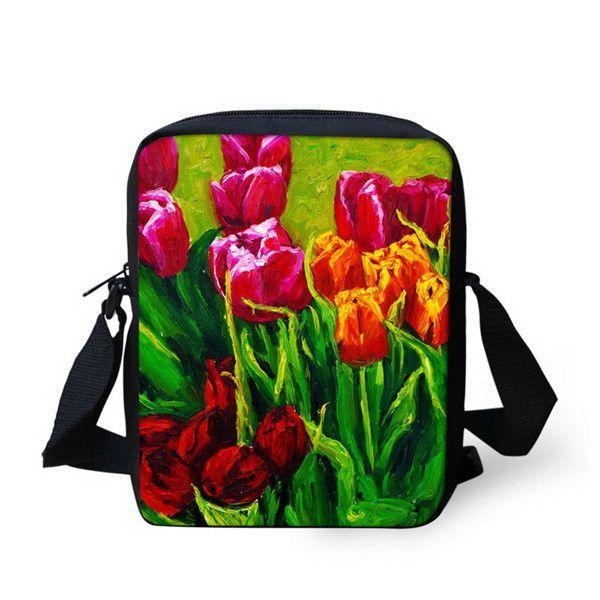 Best Selling Ladies Messenger Bag Women Fashion Handbags Rose Printed Girls Shoulder Bags Famous Brand Crossbody Bags Mochila