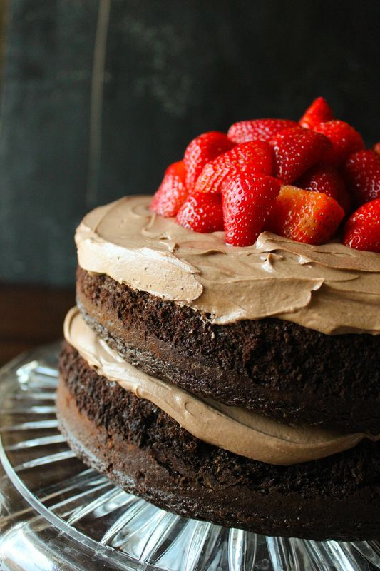 Decadent chocolate cake, creamy Nutella frosting, strawberries. What else could you possibly ask for?