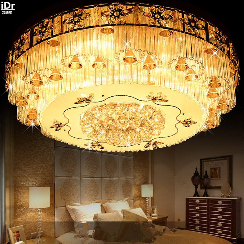 Traditional Luxury Modern Crystal Ceiling Living Room Ceiling Lamp Crystal Golden Atmosphere Round Ceiling Lights Round Ceiling Light Ceiling Lamps Living Room