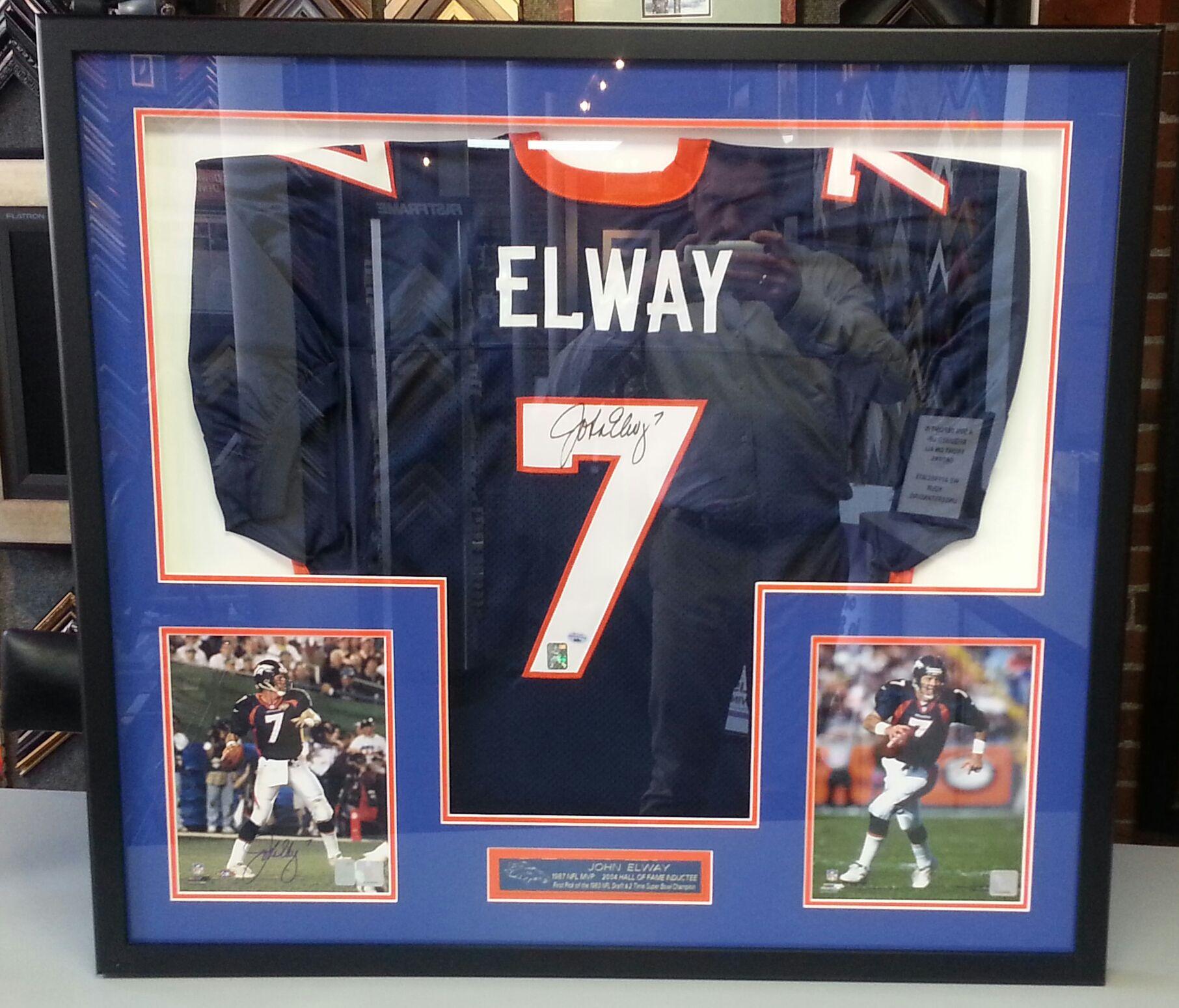 Custom framed John Elway Denver Broncos jersey with photos. Custom ...