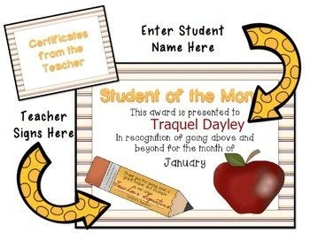 student of the month certificates awards from teachers counselors