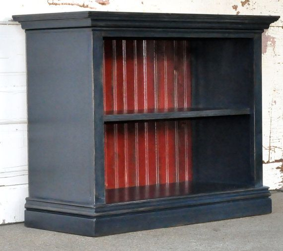 Children's Bookshelf in Navy Blue and Barn Red by AlyandCompany, $90.00