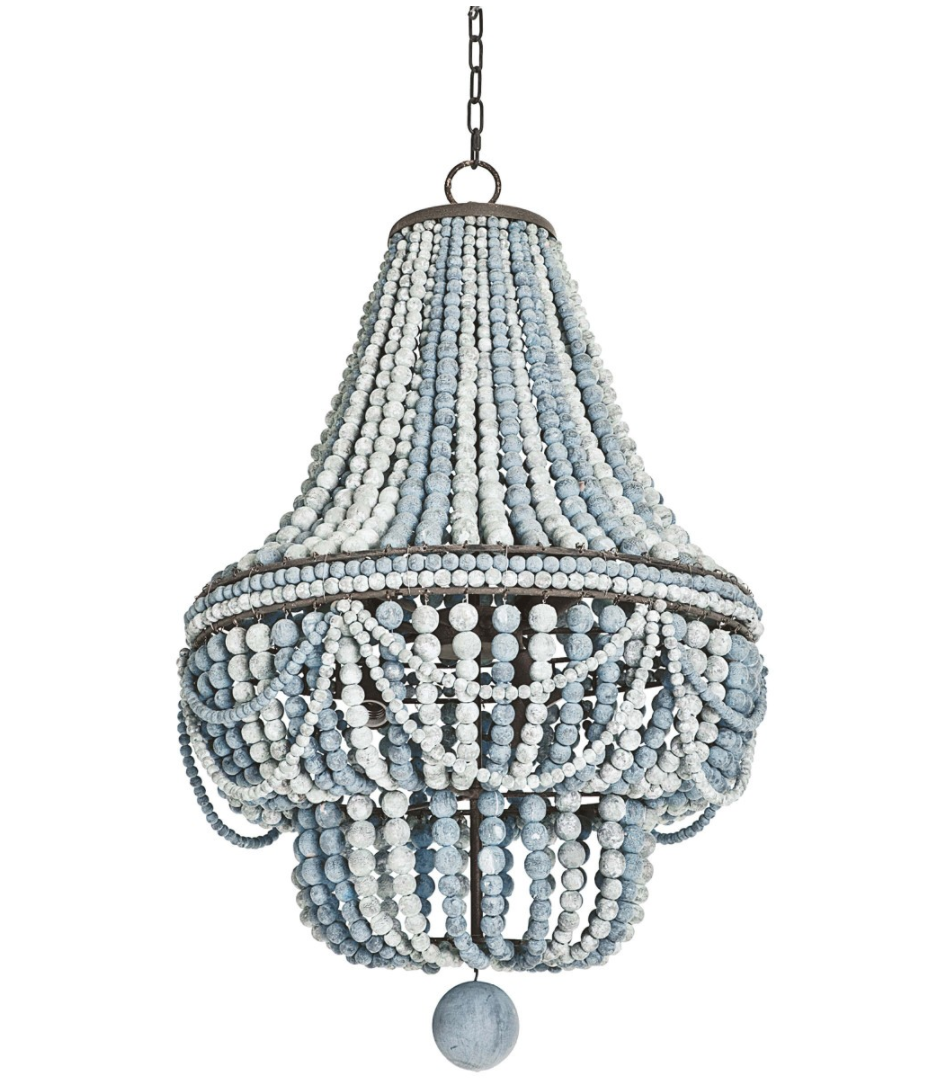 French Country Wood Beaded 2 Light 3 Light Empire Chandelier in White