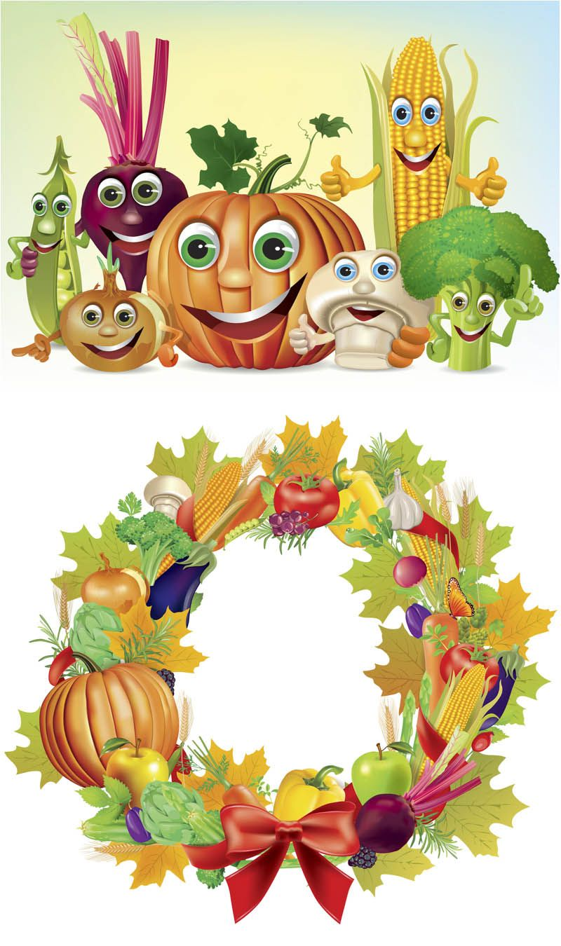 Set of 2 vector fall vegetables clip art, frames. Format: EPS or ...