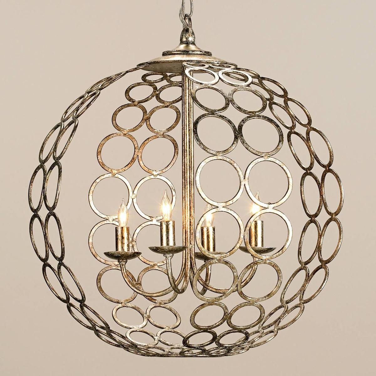 Circlet Sphere ChandelierCirclet Sphere Chandelier: This 4-light modern chandelier makes a visually appealing statement with its geometric inspired design and a beautiful silver and gold leaf finish.