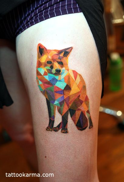 Geometric Fox Small Jpg 408 600 Geometric Dog Tattoo