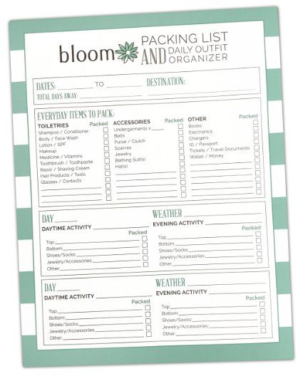 bloom daily planners Vacation Packing List + Daily Outfit - punch list