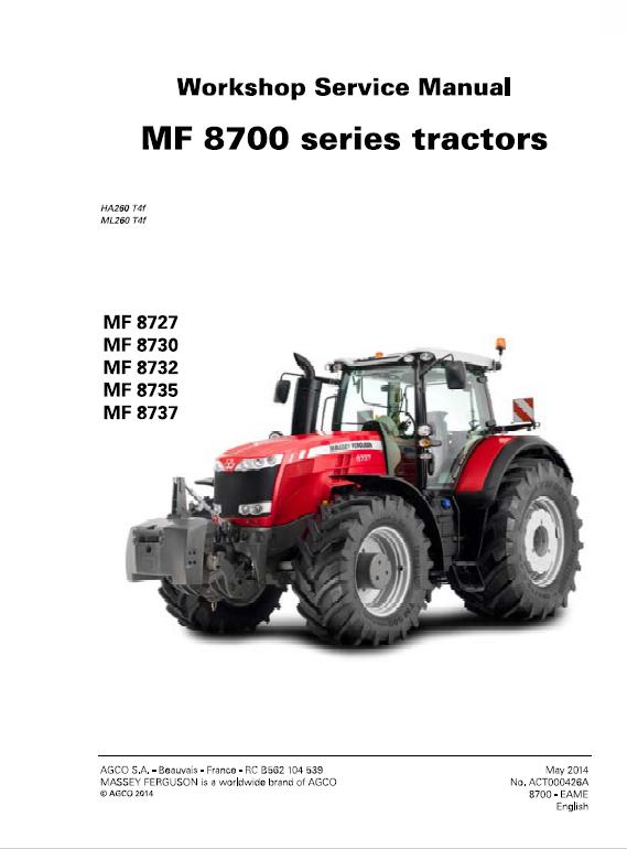 Massey Ferguson 8727 8730 8732 8735 8737 Tractor Service Manual Tractors Massey Ferguson Massey Ferguson Tractors