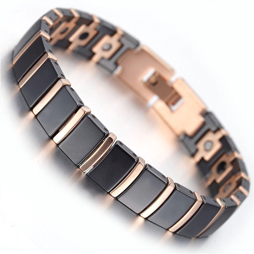 Mens Tungsten Bracelet Rose Gold Black 79 kb1497 Bracelets