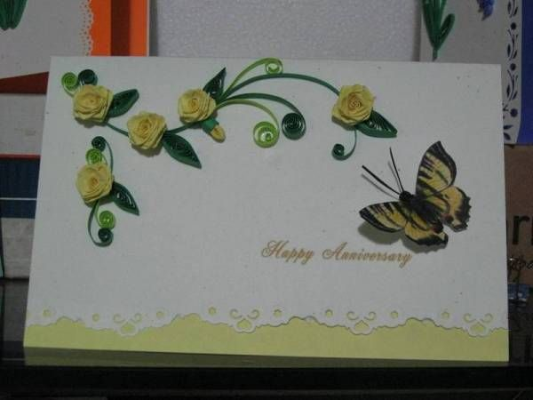 Yellow roses anniversary card quilling patterns pinterest