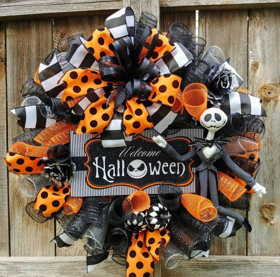 Jack Skellington Halloween wreath, nightmare before Christmas Halloween wreath, Jack wreath, Halloween wreath, black and orange Halloween #halloweenwreaths