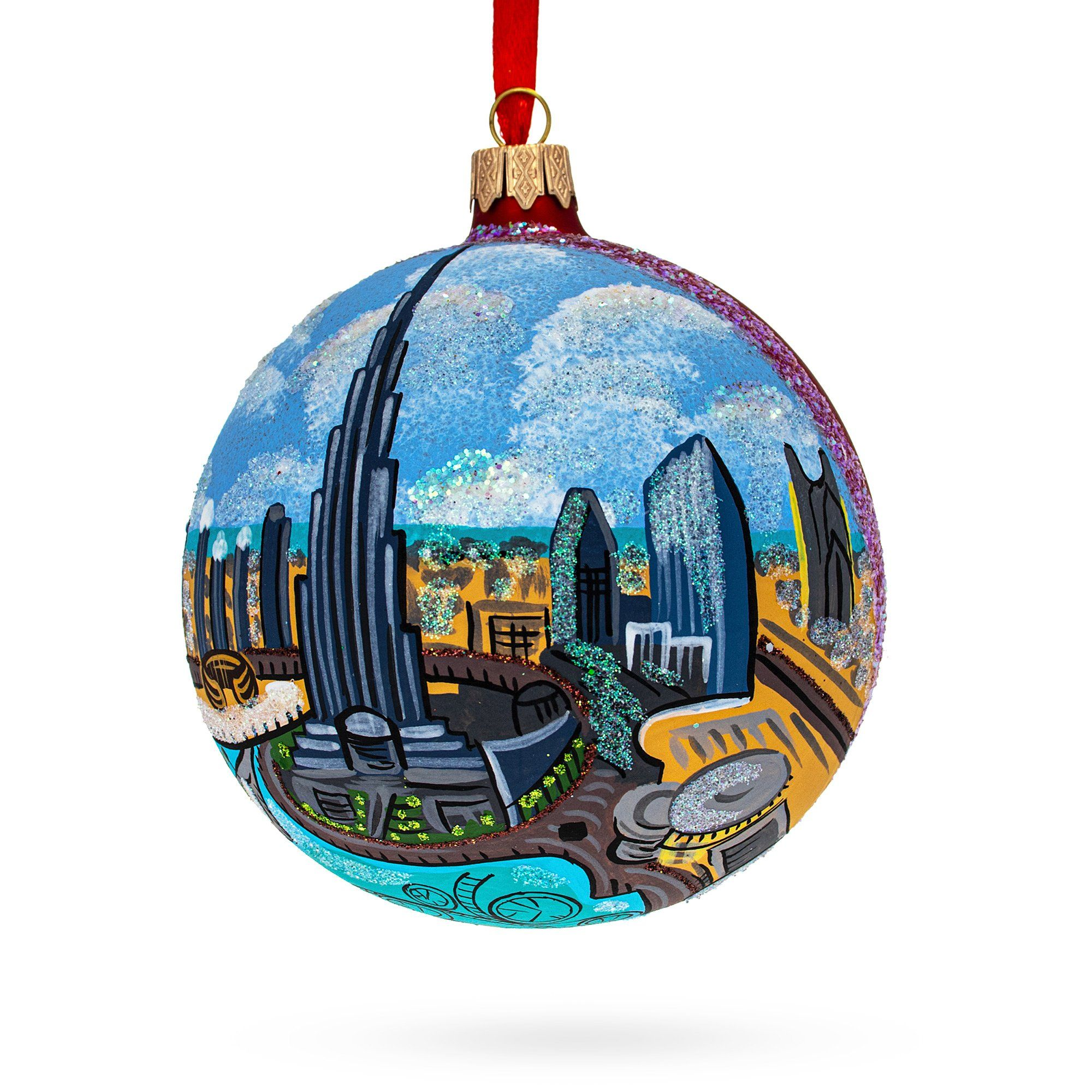 Christmas Presents Hand Painted Christmas Ball Made in Ukraine Hand Painted Mouth Blown Glass Christmas Tree Ball Ornament
