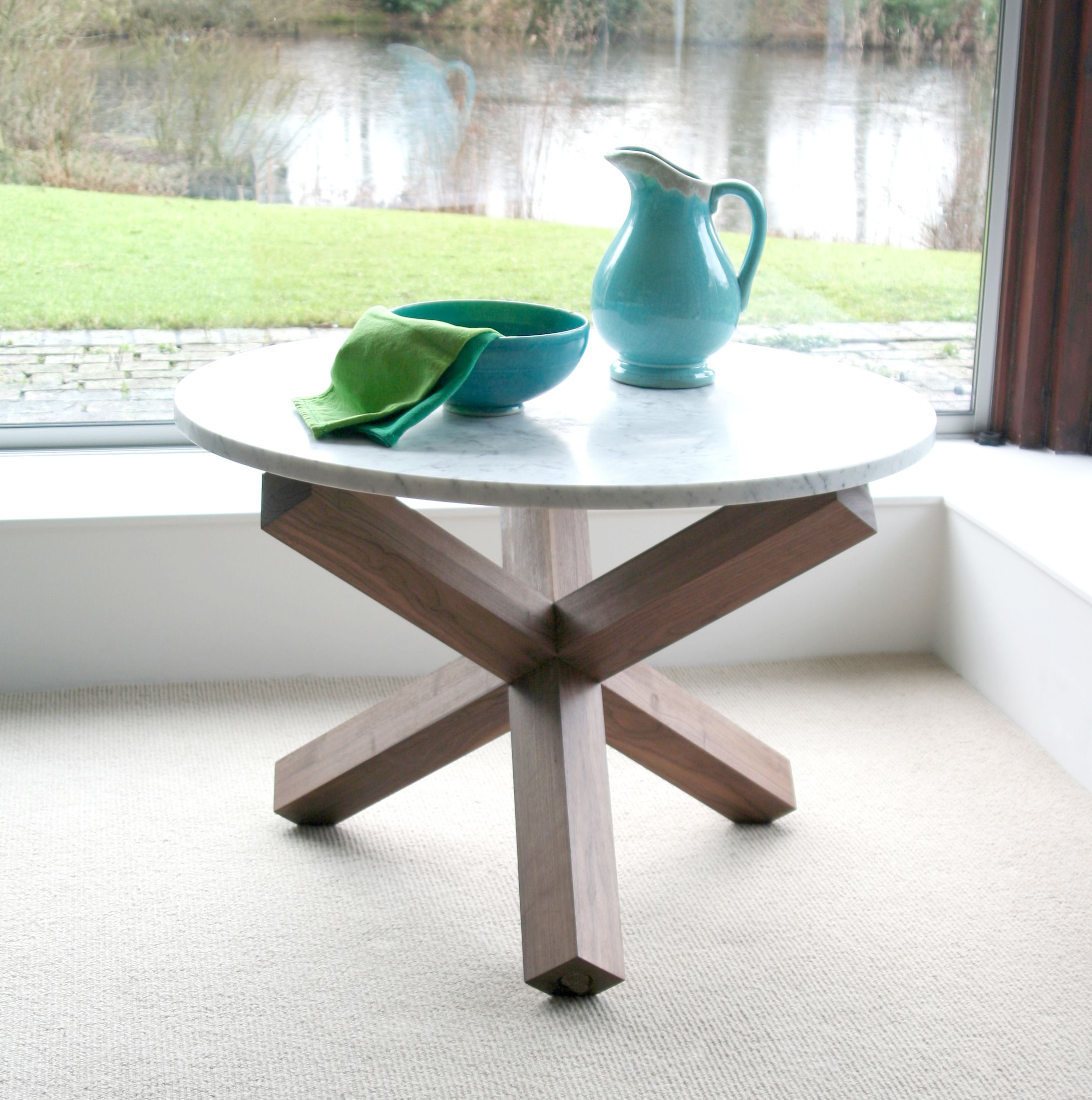 Criss Cross Table 30mm Carrara Marble Sits On Solid Walnut Legs With