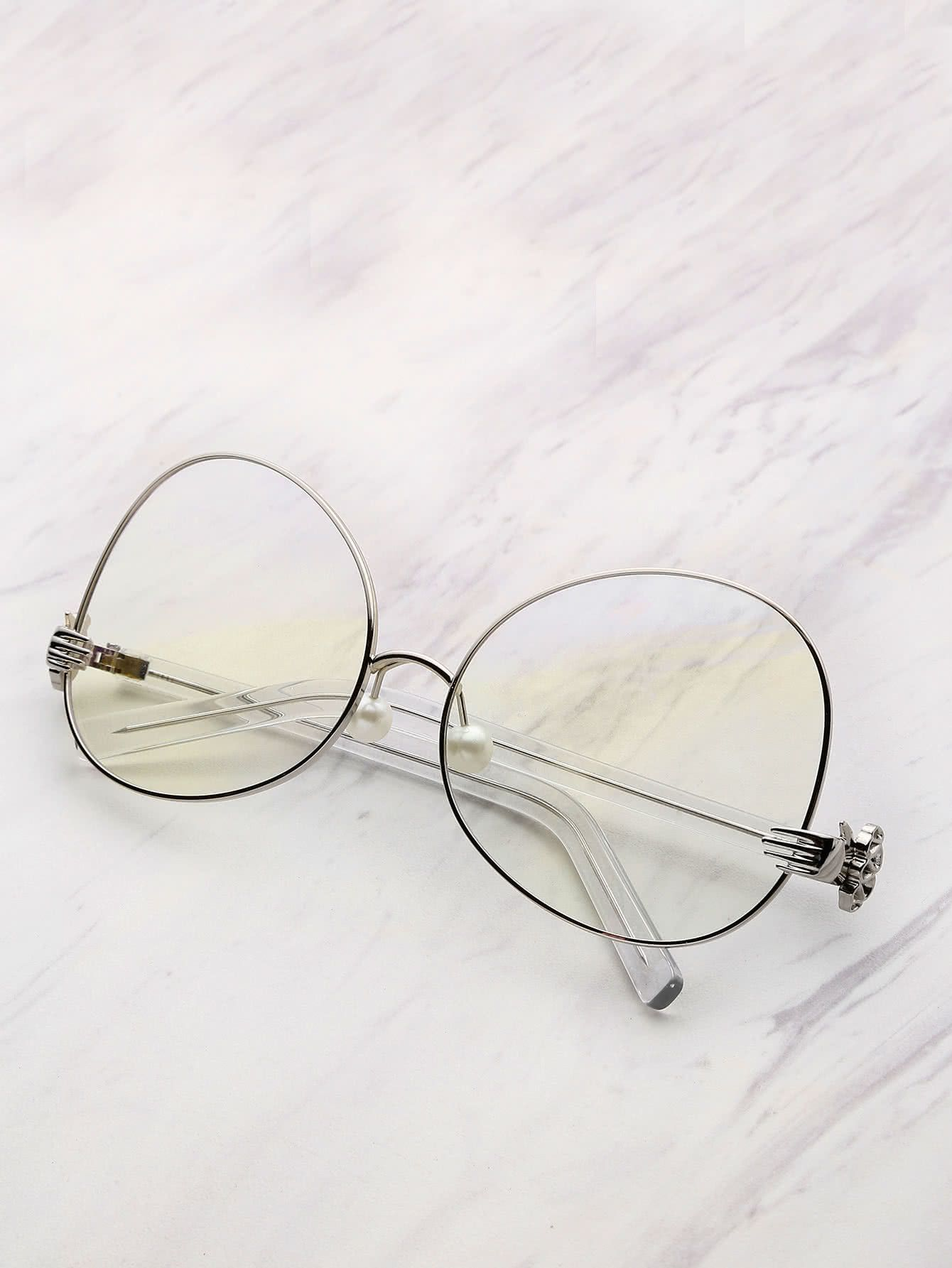bb068fb34b Contrast Frame Oval Lens Glasses With Faux Pearl