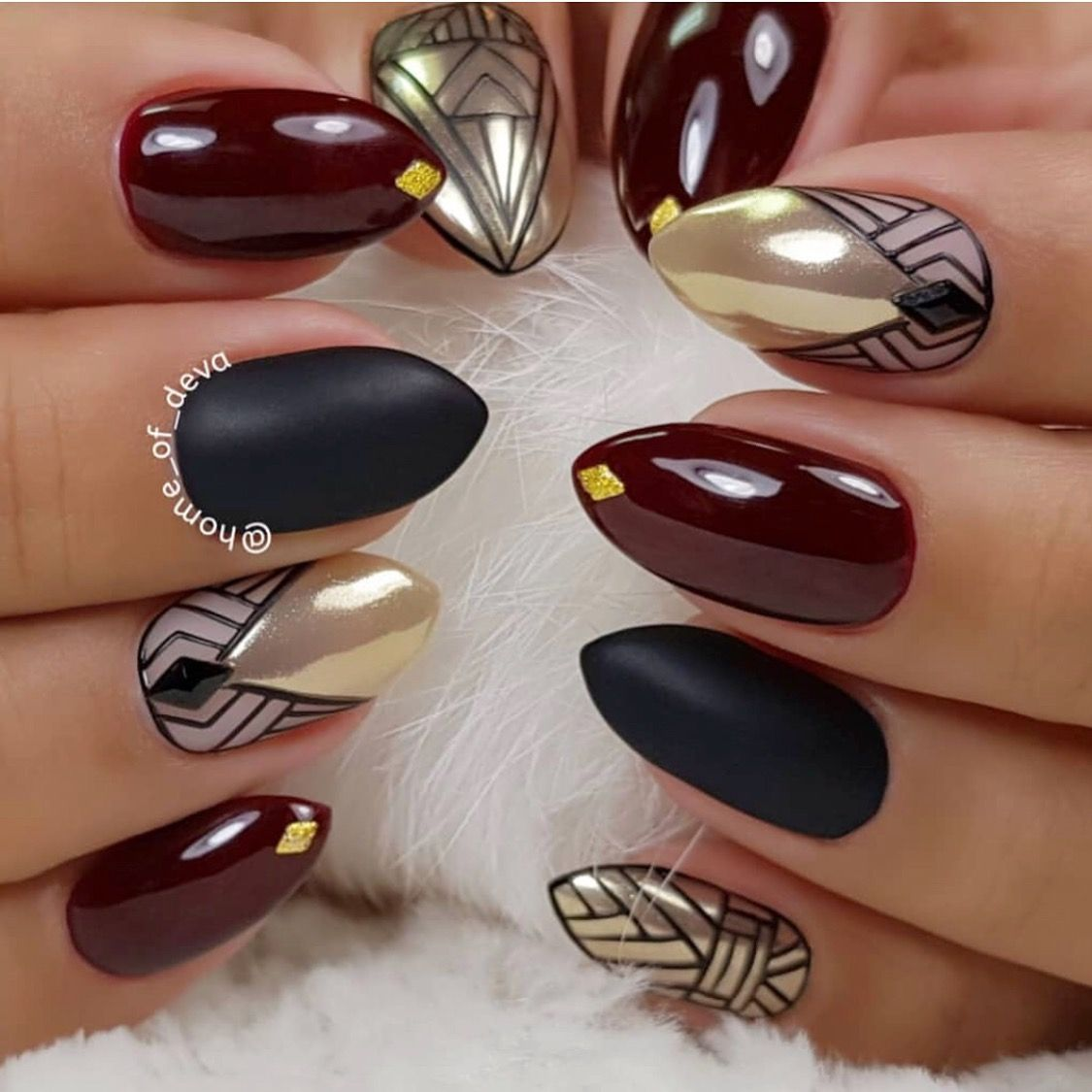Beautiful Burgundy Almond Shaped Natural Nails With Black Line Work Gold Chrome And Swarovski Crystals By Exclusi Gold Chrome Nails Art Deco Nails Gold Nails