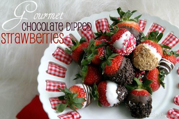 Gourmet Chocolate Dipped Strawberries - perfect for #Valentine's Day #Strawberries #Chocolate #Recipe #Food