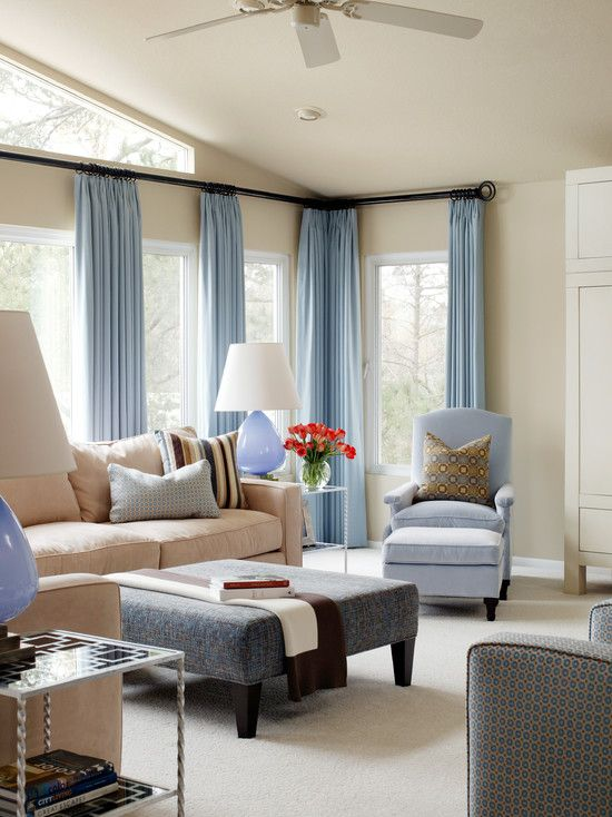 Living Room+blue+brown Design, Pictures, Remodel, Decor and Ideas. Love the bold curtain rods so high on the wall. I need to do this!!