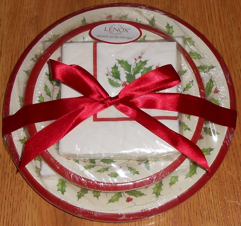 56 Piece LENOX Holiday HOLLY Paper Dinner Dessert Plates Napkin Set  #Lenox #holidays