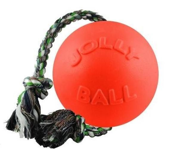 Dog Toy Tug Rope Ball Color Orange Size 8 Inches The Jolly Pets