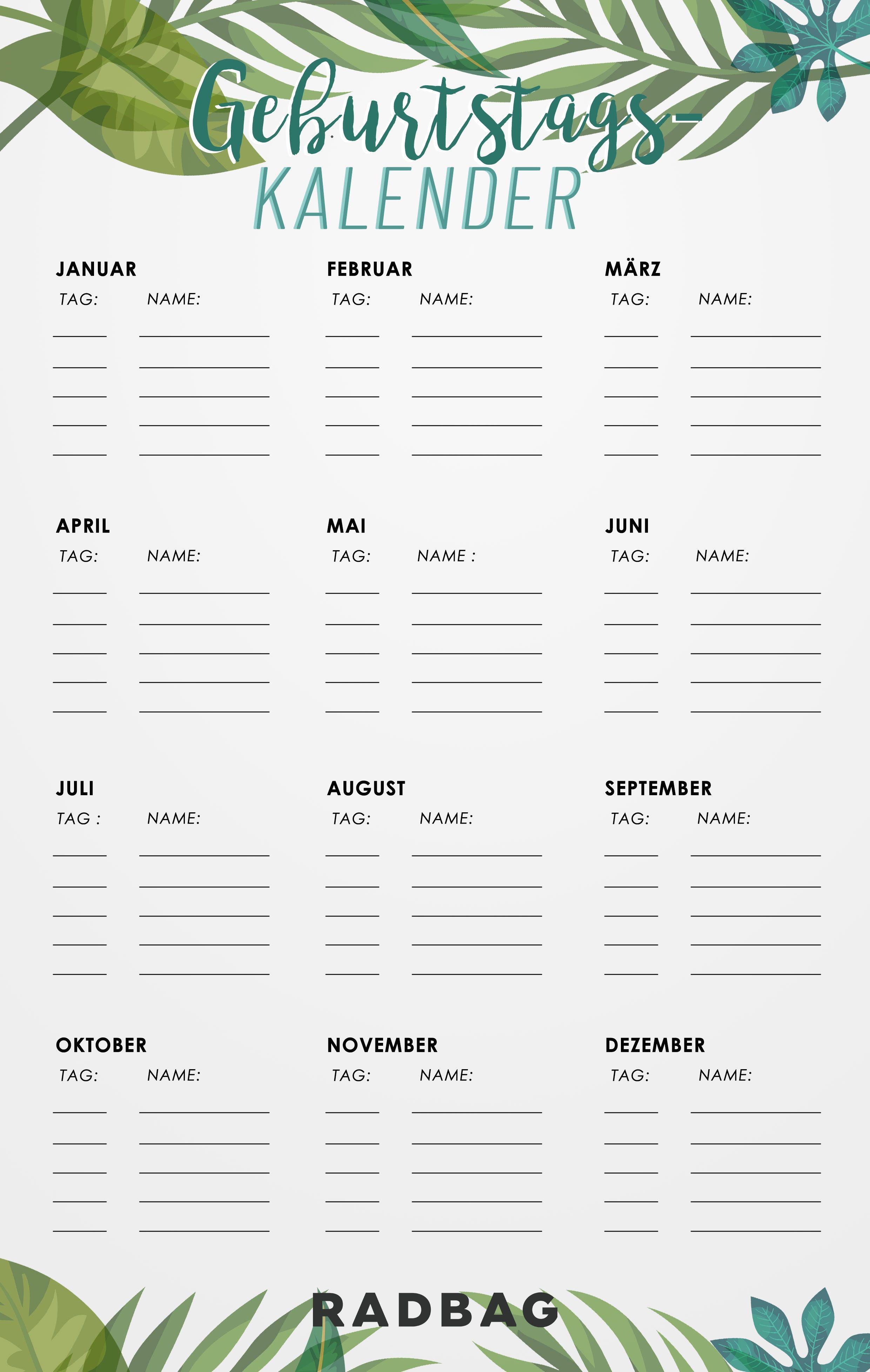Geburtstagskalender Geburtstagskalender Ausdrucken Geburtstagskalender Kalender Zum Ausdrucken