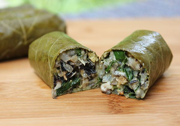 "Try our stuffed grape leaves recipe using freshly harvested and fermented wild grape leaf and a mix of superfood ingredients for a healthier version of the traditional ""dolma."""