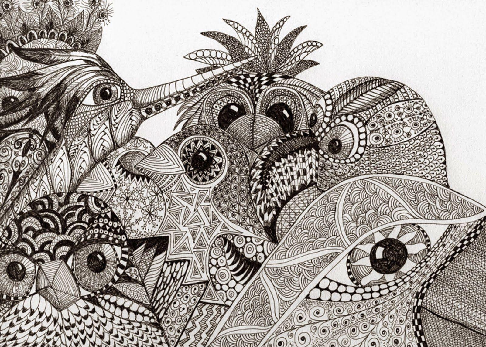 Tekening Met Lijnen Zentangle Kunst Kunstlessen Kaarten