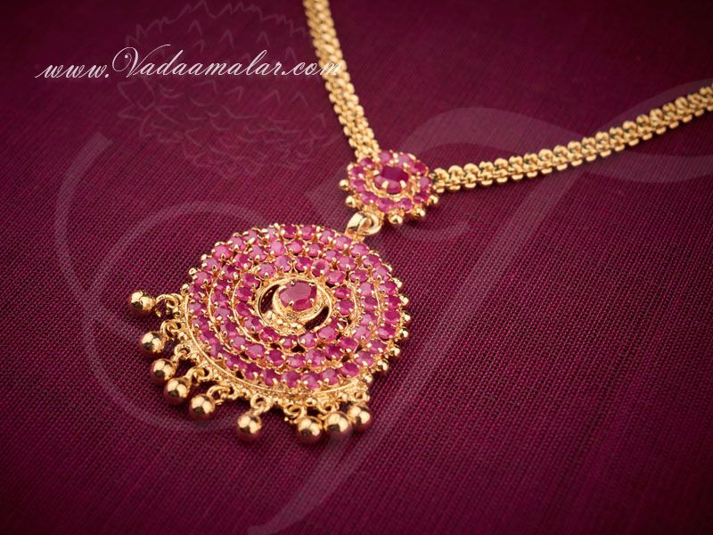 Gold plated ruby stones pendant with short necklace ruby stone gold plated ruby stones pendant with short necklace aloadofball Images