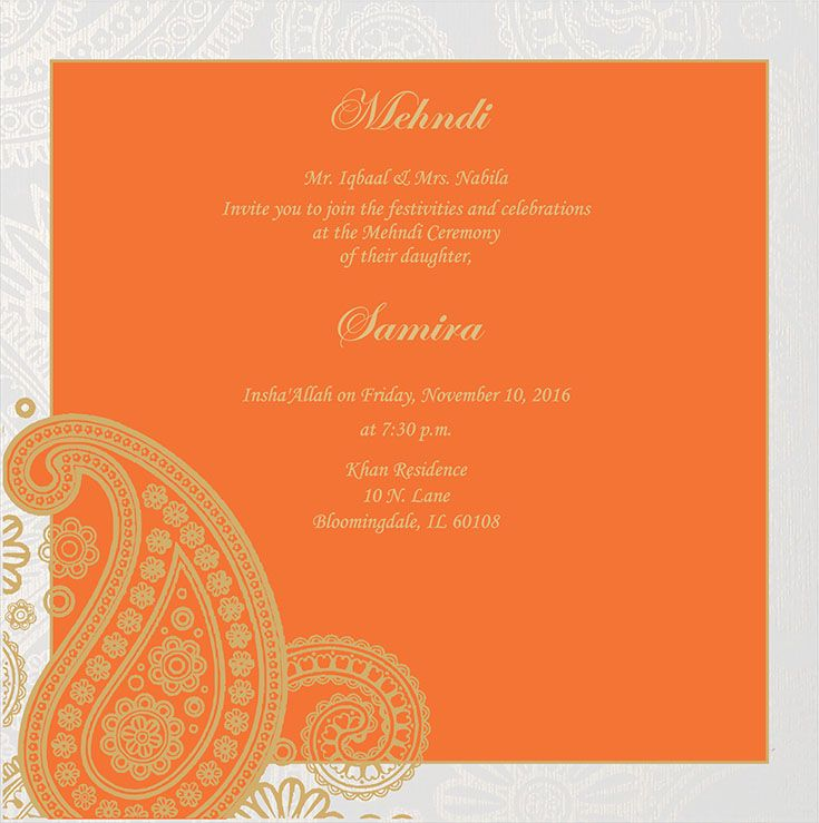 Wedding Invitation Wording For Mehndi Ceremony Mehndi Ceremony