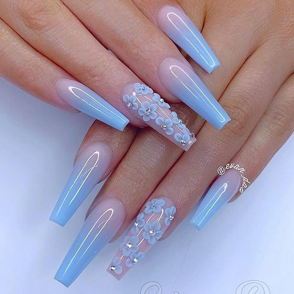 82 Best Cute Coffin Nail Gel Nail Designs For Summer 2019 37 Producttall Com Cute Acrylic Nail Designs Best Acrylic Nails Acrylic Nails
