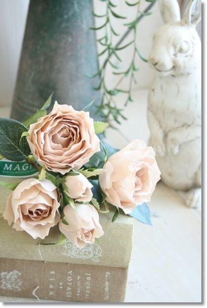 エクリュローズプレシャス薔薇(ダークベージュorクリーム)【造花・アートフラワー】