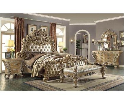 HDS- HD7012 Victorian Era Design Distress Beige Finish Bedroom Set ...