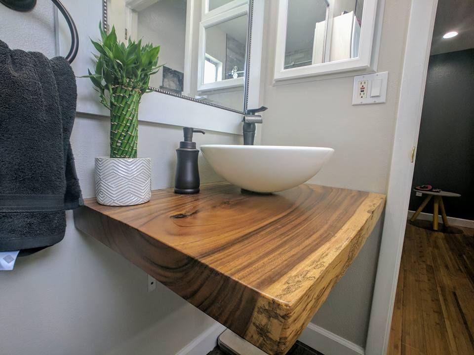 Custom Live Edge Slab Floating Bathroom Vanity Floating
