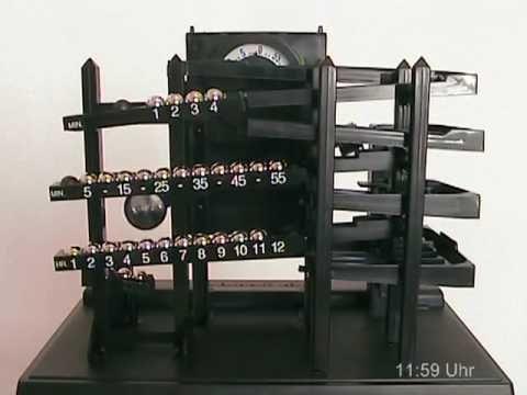 Time Machine Clock Rolling Ball Kugeluhr Youtube Cool Clocks Clock Marble Run