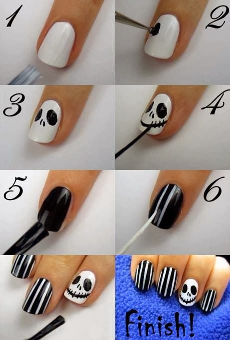 Abbi...this would be cute w/ a little green guy on the ring finger. Hallowen Nail Art | PinTutorials