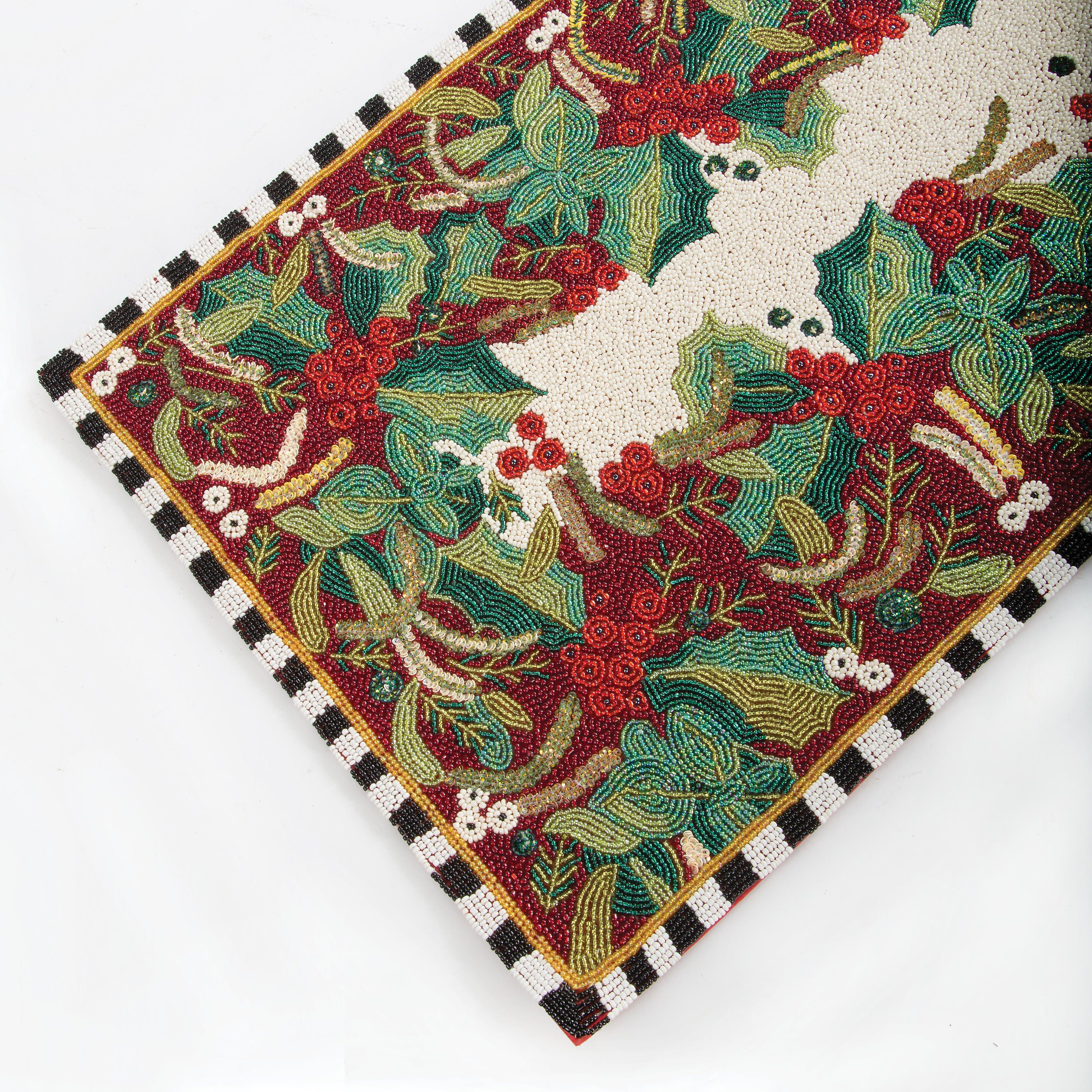 Mackenzie Childs Holly Amp Berry Beaded Table Runner 36 Mackenzie Childs Bohemian Rug Table Runners