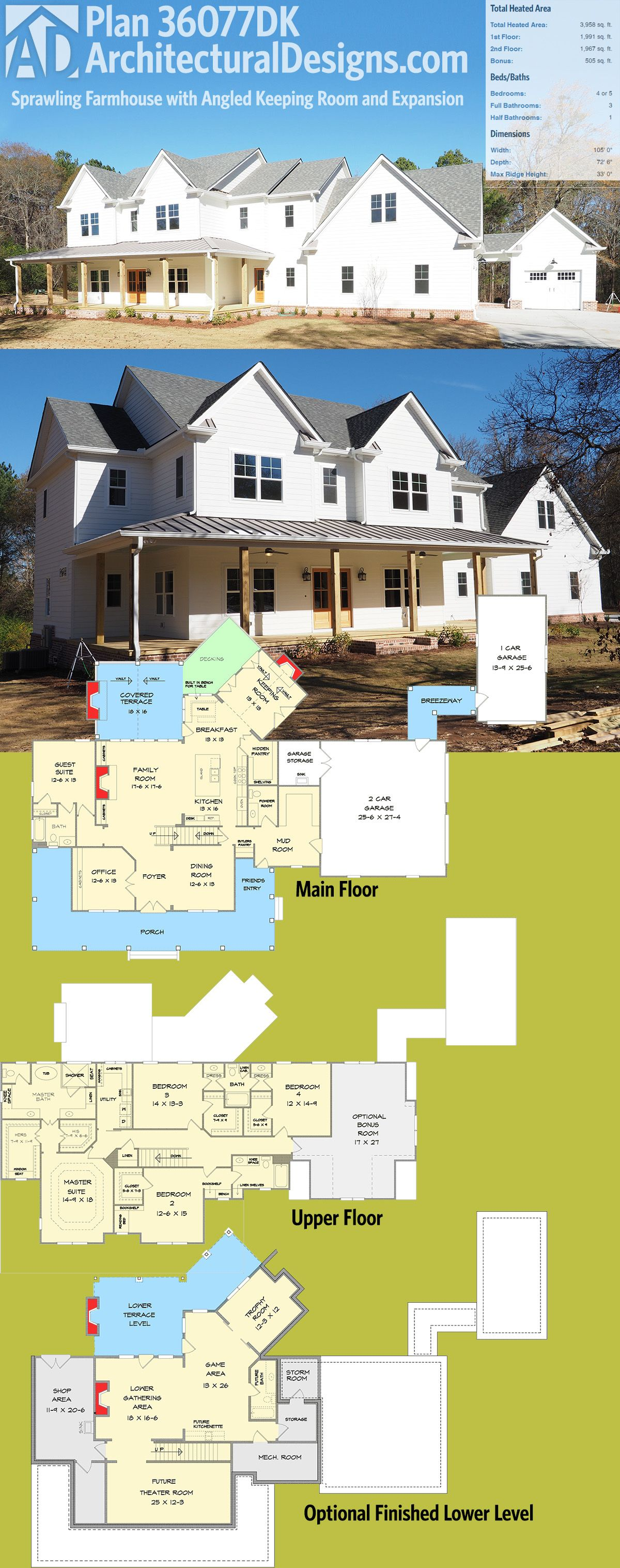 Architectural designs house plan 36077dk is a sprawling farmhouse plan with an angled keeping - House plans with bonus rooms upstairs ...