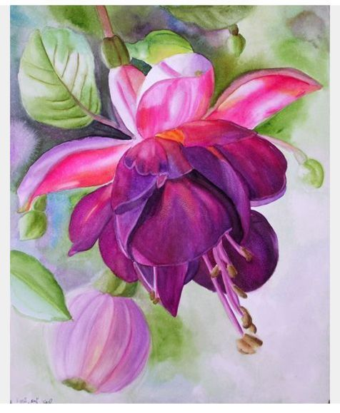 beautiful mozaic violet painting interior doors | Pin by Donelle on Peony painting | Watercolor art ...