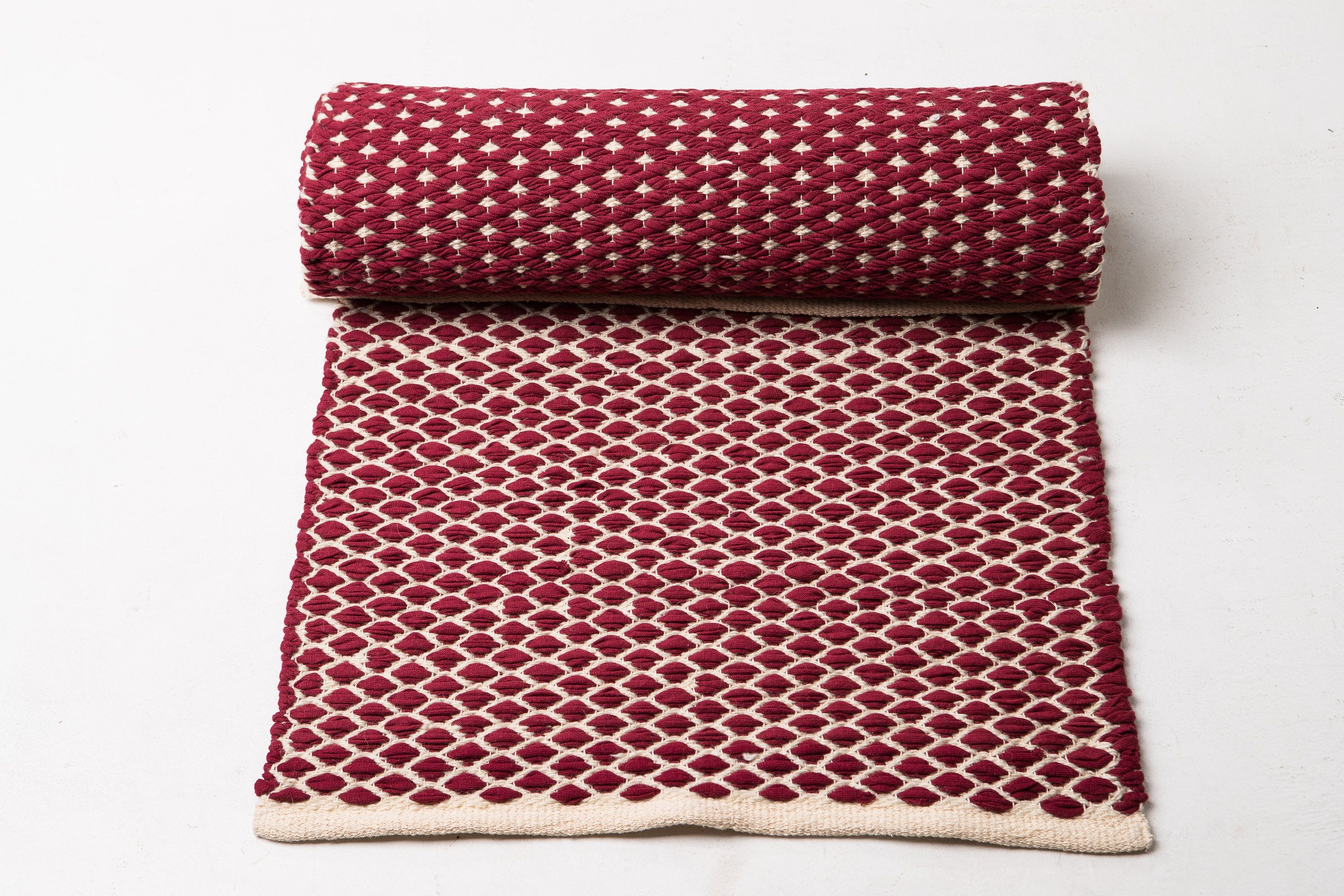 Red And White Cotton Rug Kitchen 3 X 7ft Runner Rug Scandinavian Rug Handwoven Cotton And Wool Rug Red Washable Rug Modern Woven Rug Cotton Rug Scandinavian Rug Woven Rug