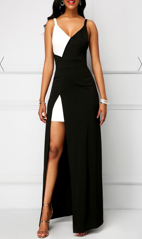 Prom Dresses Open Back Color Block Side Slit Maxi Dress Evening Dresses