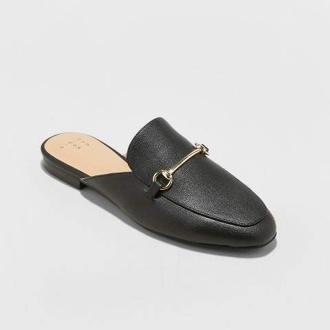 A New Day Women's Kona Backless Slip On Loafer Mules - A New Day Black