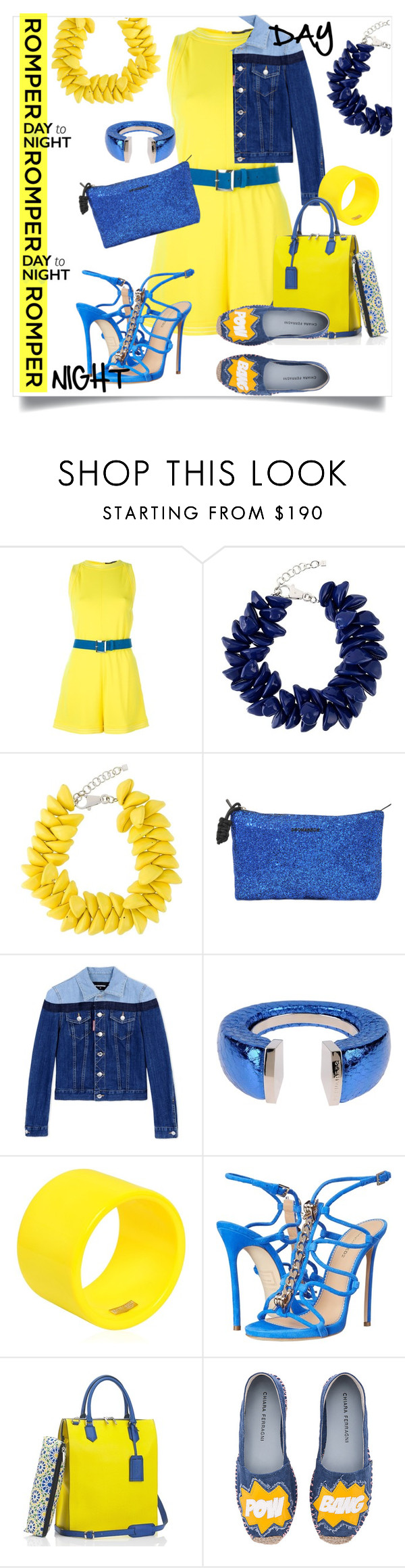 """""""Day to Night Romper"""" by captainsilly ❤ liked on Polyvore featuring Dsquared2, Mark/Giusti and Chiara Ferragni"""