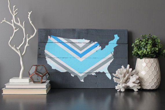 United States Custom Chevron wood wall art