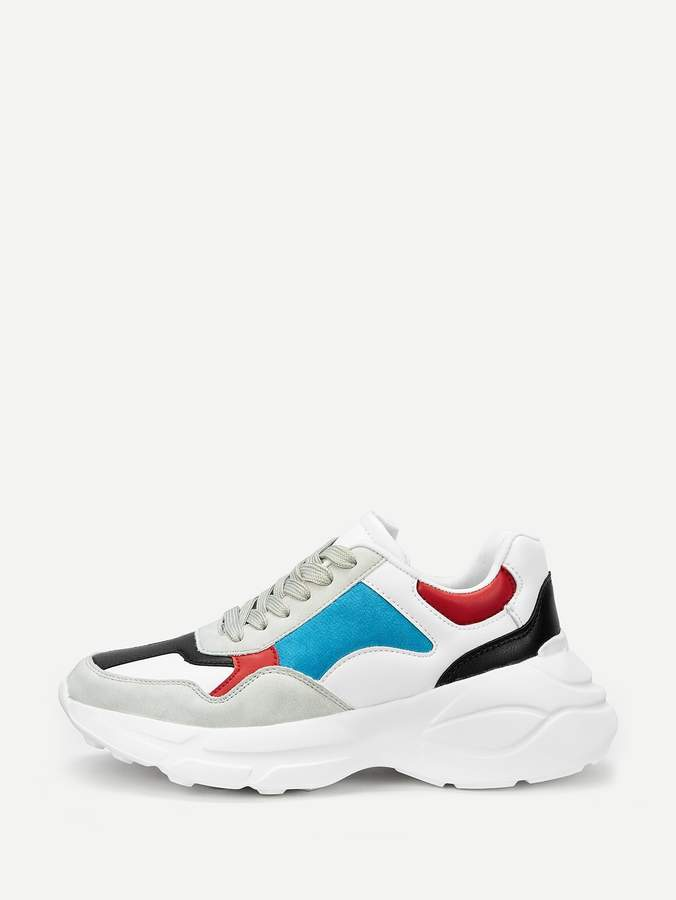 Sheinshein Colorblock Lace Up Chunky Sneakers Chunky Sneakers Sneakers Latest Sneakers