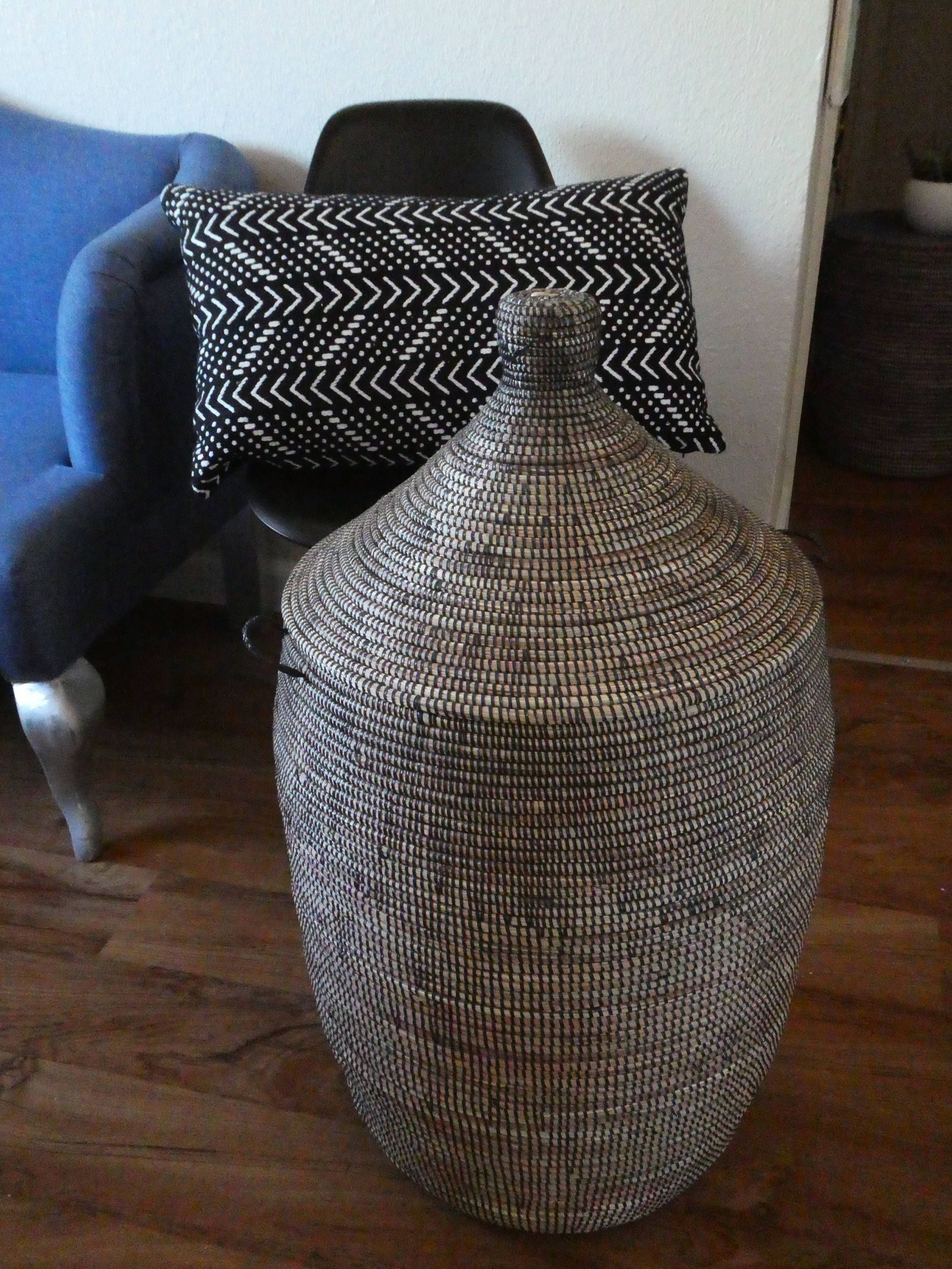 Charcoal Laundry Basket Black Modern Xl Handwoven African Laundry Hamper Ready To Be Shipped Black Laundry Basket Panier Noir Black Laundry Basket Laundry Hamper Laundry Basket